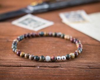 4mm - Picasso jasper beaded stretchy bracelet w/ S925 silver beads, minimalistic bracelet, gemstone bracelet, mens bracelet, womens bracelet