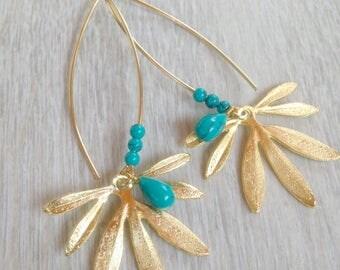 Unique leaf earrings, gold leaf earrings, turquoise and gold earrings, long dangle earrings, statement earrings, suspension earrings