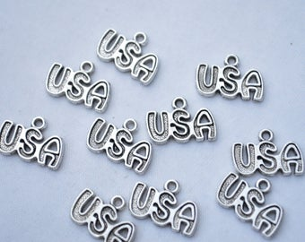 Bulk 50 Pcs USA Charms America Charms Pendants Antique Silver Tone 16x11mm - YD0474
