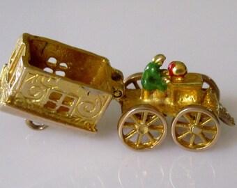 9ct Gypsy Caravan and Enamel Fortune Teller Charm