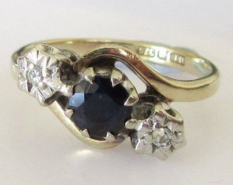9ct Gold Sapphire and Diamond Trilogy Swirl Ring