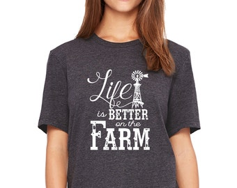 Life Is Better On The Farm Windmill   Farm   Farm Shirt   Farm Girl   Ladies Fitted Crew   Soft