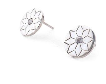 Sterling Silver Snowflake Studs with Swarowski Zirconia / Diamonds upgrade option available