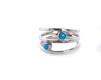 Sterling Silver Triple Ring with Genuine Turquoise Gemstone, Handmade ring