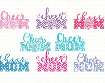 Cheer Mom SVG Files, for Cricut Design, Space and Silhouette, Studio Cutting Files, Iron On Decal, Printable Clipart, Digital, Scrapbooking