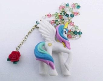 My Little Pony Princess Celestia Swarovski Crystal necklace Kawaii cosplay