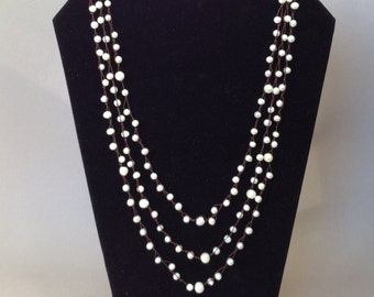 Crochet Freshwater Pearl Three Strand Necklace