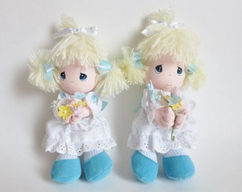 "Precious Moments Dolls Set of Two, 1991 Vintage Precious Moments Rachel Doll, Precious Moments Collectibles, Applause 7"" Soft Body Dolls"