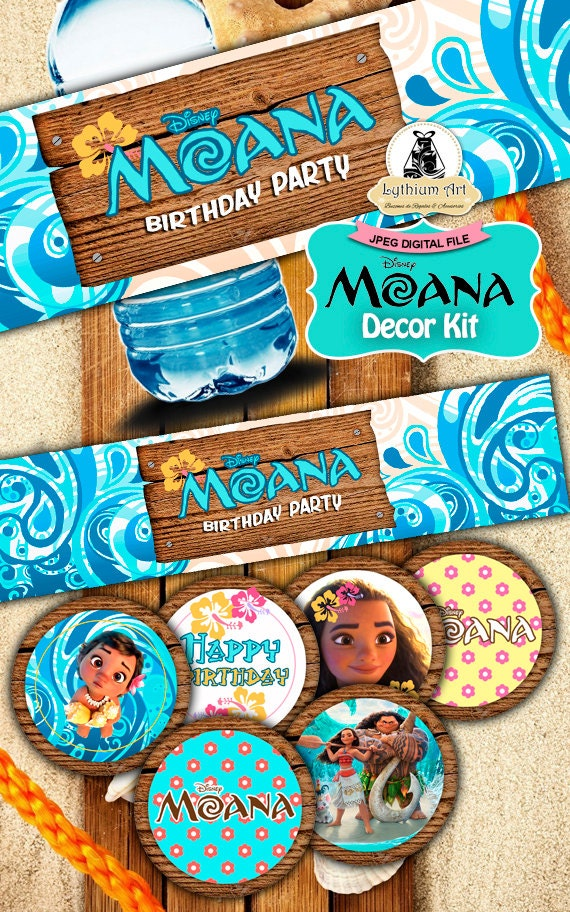 Moana Decor Kit - Moana Labels - Moana Toppers - Moana Food Tents - Moana Birthday Party - Moana Printables - Moana Decor - Disney