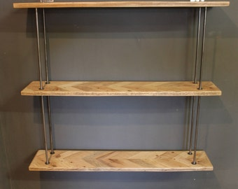 Wall Hung Parquet Shelving Unit  (The Amberstone)