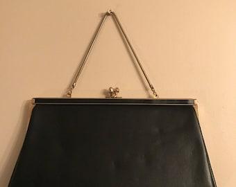 Vintage Handbag- Vintage Black Faux Leather Ande Evening Bag