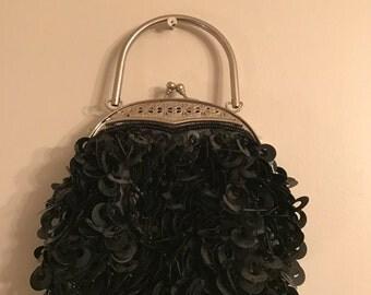 Vintage Handbag- Vintage Black Sequin Evening Bag/ Clutch
