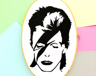 Bowie | Icon Art | David Bowie | Embroidered | Black and White Art | Hoop Art | Music Art | Home Decor | Wall Art | Cloth and Twig