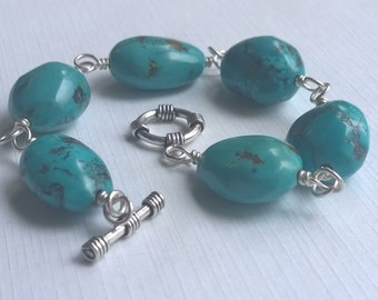 Turquoise and Sterling Silver Wire Wrap Bracelet, Toggle Clasp, Large Beads, Pebbles, Nuggets
