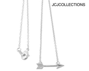 Dainty Arrow Necklace, Sideway Arrow Necklace, Delicate, Sterling Silver Necklace