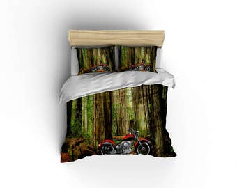 Classic Harley Davidson duvet,Vintage Motorcycle duvet covers,motorcycle decor,biker bedding,Chopper Bedding,Made in USA,Redwoods California