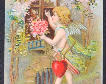 Valentine's Postcard Embossed Card Cupid Delivering Hearts Flowers Holiday Post Card