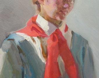 MID CENTURY PORTRAIT Vintage Original Oil Painting by Romanchikov I. 1950, Fine Soviet Art, Female Portrait, Women Portrait, Pioneer