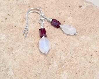 Moonstone earrings, garnet earrings, Hill Tribe silver earrings, drop earrings, dangle earrings, red earrings, January birthstone