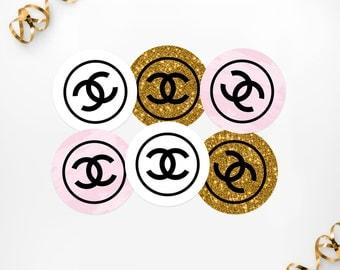Printable Party Circles, Printable Chanel Inspired Cupcake Toppers, Printable Chanel Inspired Tags, Birthday Party Bridal Shower Decor
