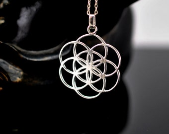 Seed of life pendant Sterling Silver 925. flower of life. meaningful gift. sacred geometry pendant, for men and for women
