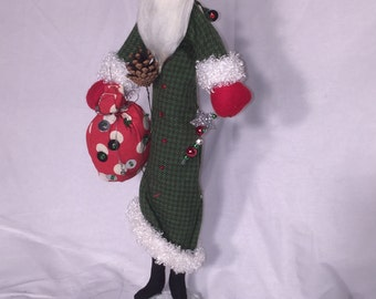 "Tall Modern Santa Figurine- green Coat - Christmas Holidays - RAZ Imports - 17"""