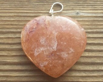 NATURAL RED AVENTURINE Gemstone Puffy Heart Pendant