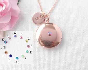 Rose gold crystal round locket, Locket necklace, Locket,Initial necklace, rose gold necklace, rose gold necklace, rose gold RGRL0C23