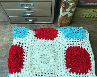 Vintage Afghan Blanket Teal Red Ivory Crochet