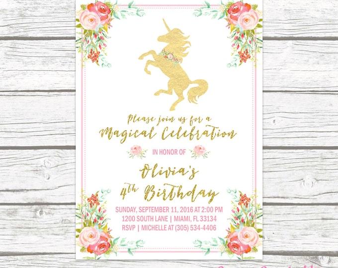 Unicorn Invitation, Unicorn Birthday Invitation, Unicorn Party Invitation, Girl 1st First Birthday Party Invitation, Pink and Gold Printable