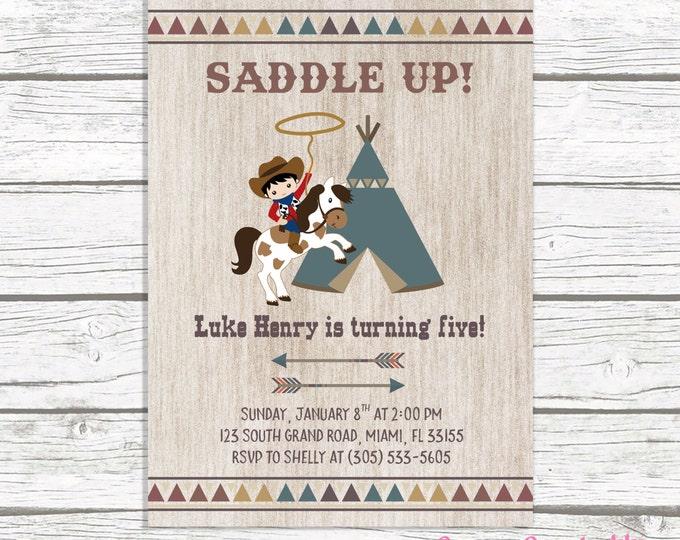Cowboy Birthday Invitation, Cowboy Invitation, Western Birthday Invitation, Wild West Birthday Invitation, Saddle Up Printable Invite