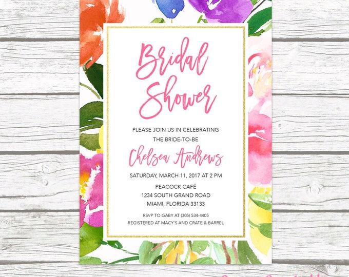 Bridal Shower Invitation, Garden Bridal Shower Invitation, Floral Bridal Shower Invitation, Bridal Shower Invite, Printable Invite
