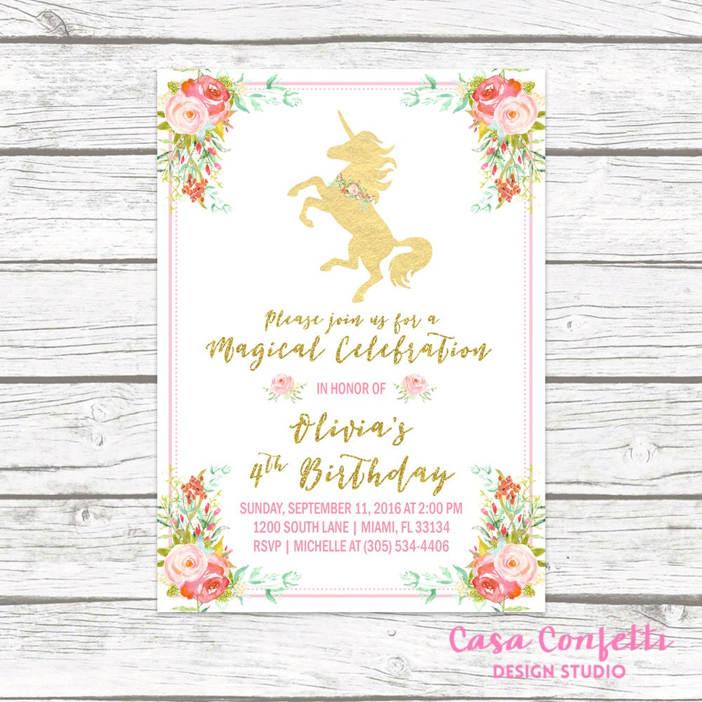 Unicorn Invitation Unicorn Birthday Invitation Unicorn Party – Unicorn Birthday Party Invitations