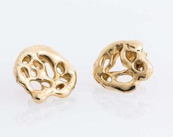 Golden earrings for woman, handmade in italy