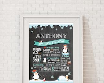 First Birthday Penguin  Chalkboard Milestone Poster Printable - Chalkboard, Baby Boy or Girl 1st birthday, Customised.