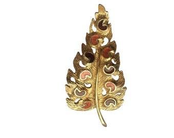 Vintage Florenza Brushed Gold Swirled Autumn Leaf Enamel Brooch Pin