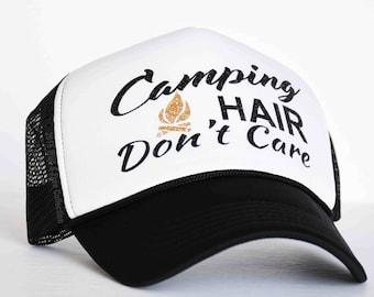 Camping Hair Don't Care Trucker Hat | Camping Baseball hat | Camping snapback hat