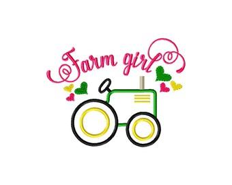 Farm girl embroidery design, farm applique design, tractor embroidery design, tractor applique design, farm girl applique