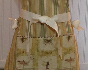 Full apron stripe cotton ticking - kaki green & tan cream grosgrain ribbon dragonfly pocket