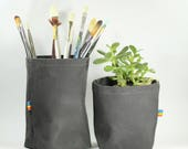 Waxed Canvas Fabric Bins - Fabric Containers - Toy Storage Basket - Waterproof Planter - Home Decor Baskets - Toy Box - Home Organization