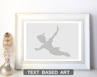 Peter Pan Poster, Peter Pan Nursery Art Print, Nursery Decor, Literary Art, Text Art Print, Never Grow Up (US)