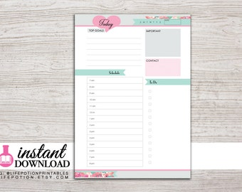 A5 Planner Printable - Daily Inserts - with Schedule and To Do - Filofax A5 - Kikki K Large - Design: Flirty Girl
