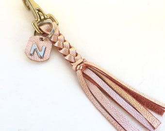 Rose Gold Braided KeyChain, Initial Keychain, Personalized Leather Keychain, Tassel Keychain, Leather Key Fob, Fringe Keychain, Purse Charm