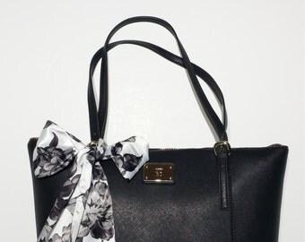 Handbag Scarf: Black Dahlias Charmuese Satin, Dazzling Purple Floral Charmuese Satin, Rainbow Metallic Gold Foil Variety Handbag Scarves