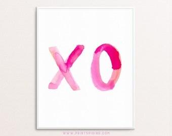 XO Print, XO typography, Printable xo, Instant Download XO, Hugs and Kisses, Pink Wall Art, Feminine Wall Prints, Watercolor xo Print