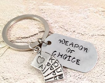 Poker Keychain, Lucky charm Keyring, Weapon of choice Keychain, Gamblers Keyring,Poker player keychain, For Dad, For Him