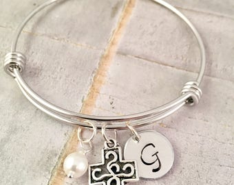 Personalized Cross Bracelet, Initial Cross bracelet, personalized cross jewelry, Confirmation, First Communion, Religious, gift for her
