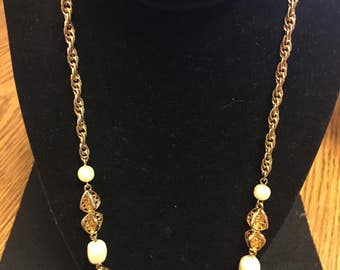 Vintage Filigree and Pearl Necklace