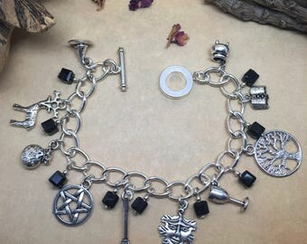 White Witch / Pagan inspired charm bracelet.
