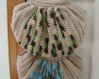 Crochet Fat Bottom Boho Bag, Crochet Handbag, Crochet Purse, Hippie Gypsy Festival Hobo Bag, Light Brown Swag Bag and Green bandana lining